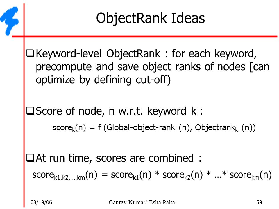 ObjectRank Ideas Keyword-level ObjectRank : for each keyword, precompute and save object ranks of nodes [can optimize by defining cut-off)